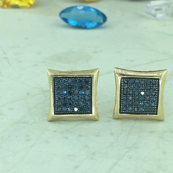 0b60b7454 Jewelry   Blue Diamond 10k Yellow Gold Screw Back Earring   Poshmark